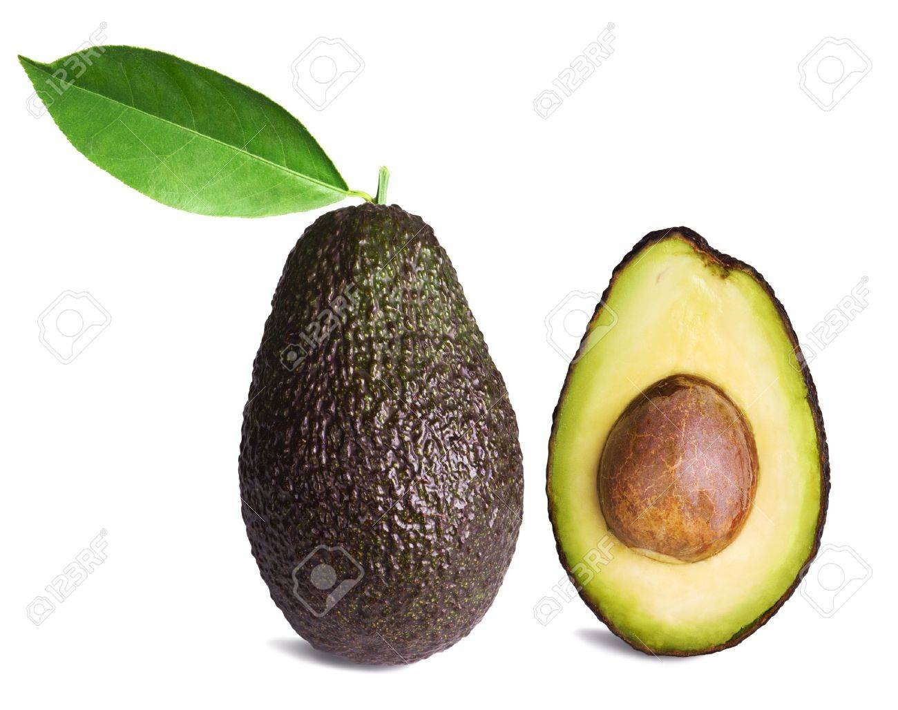 whole and half avocados with leaf isolated on white background Stock Photo - 9392076