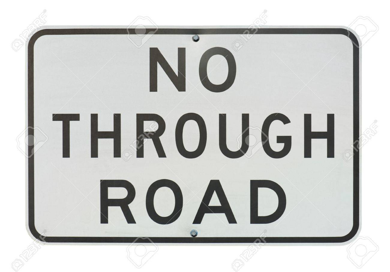 old no through road traffic sign isolated on a white background. Stock Photo - 11120767