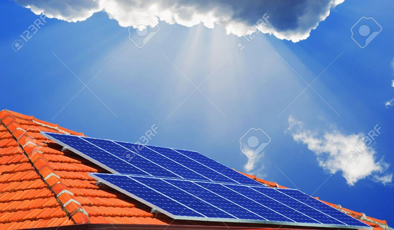 Solar panels on the roof of modern house - 14654787