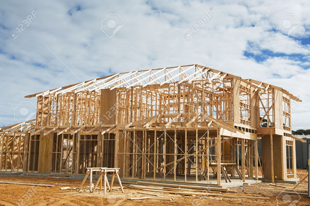 new residential construction home framing construction site stock