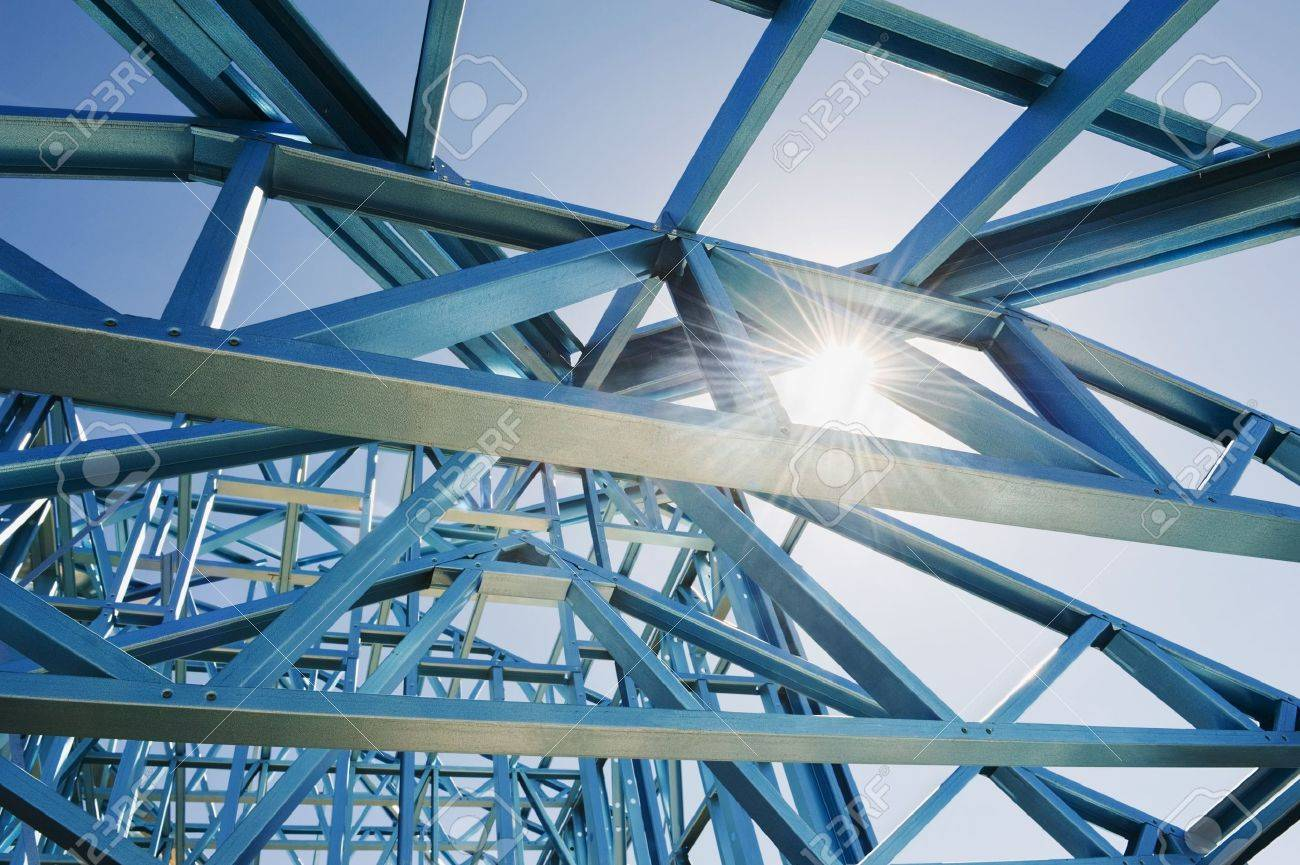 new home under construction using steel frames against a sunny sky stock photo 15073985