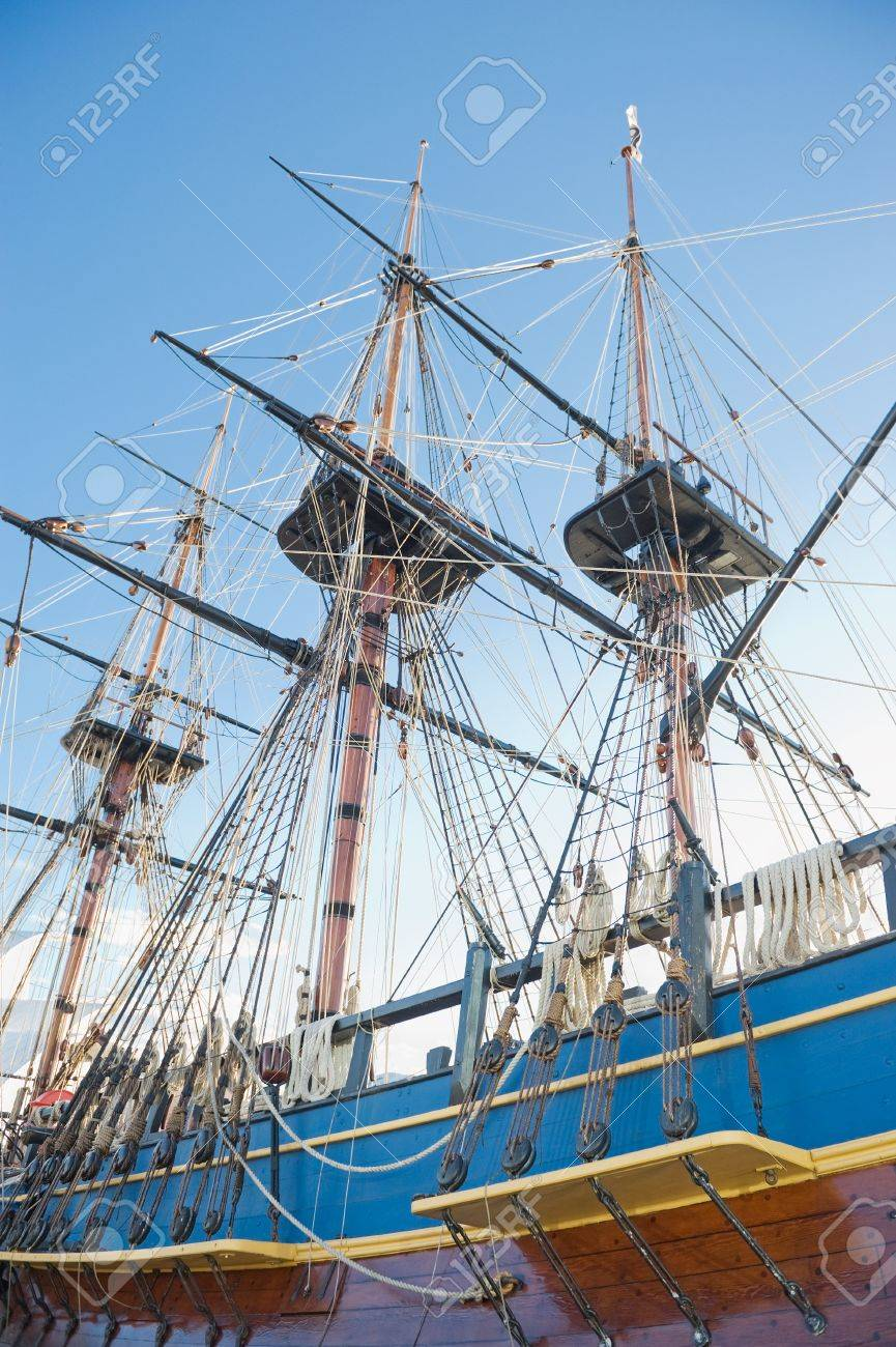 masts sails and rigging of an old sailing ship stock photo