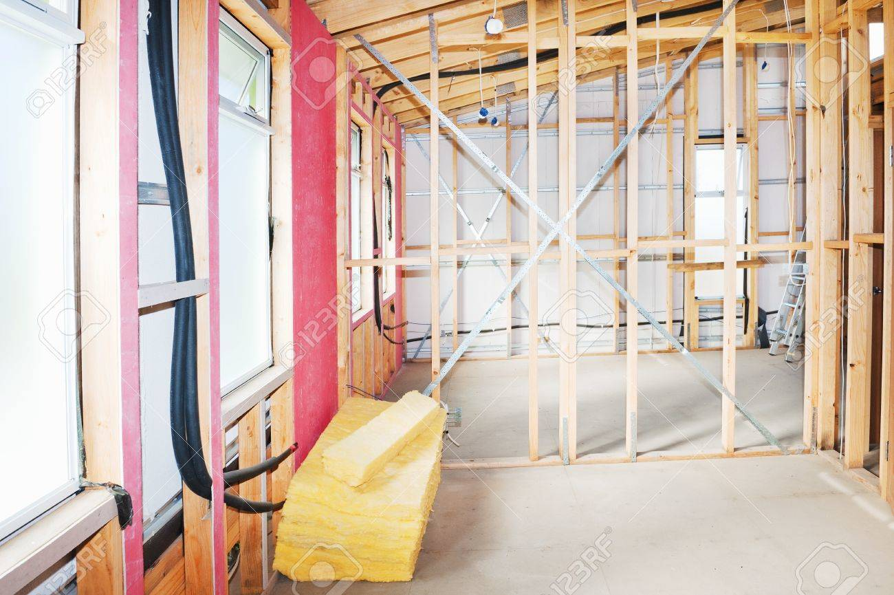 Interior view construction new residential home Stock Photo - 18465179