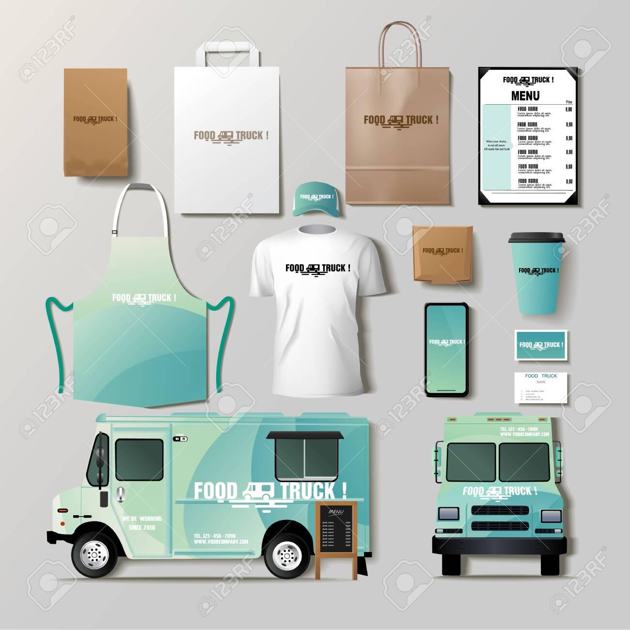 Vector food truck corporate identity template design set. - 137922077