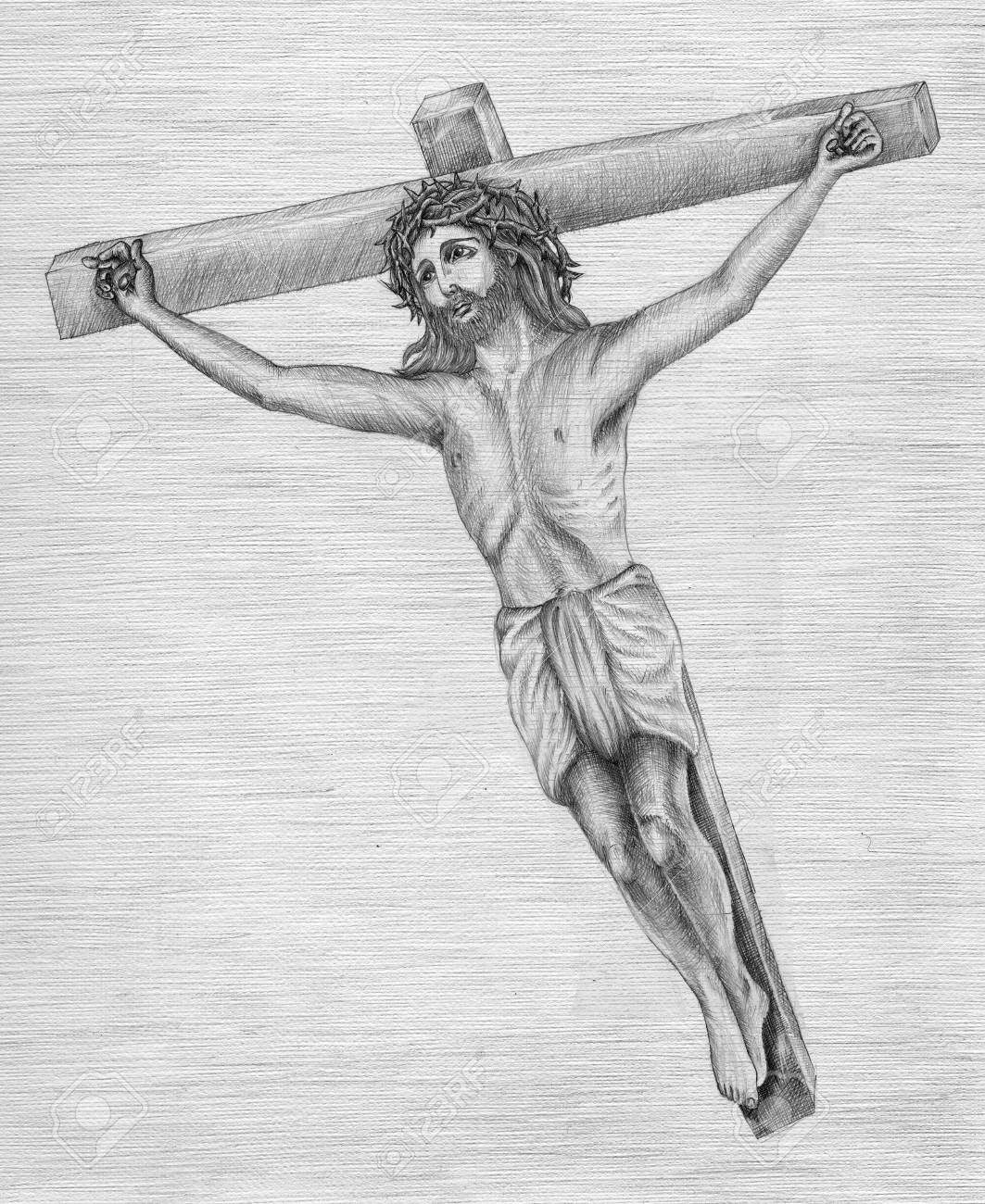Beautiful pencil drawing of jesus christ for easter stock photo 79781116
