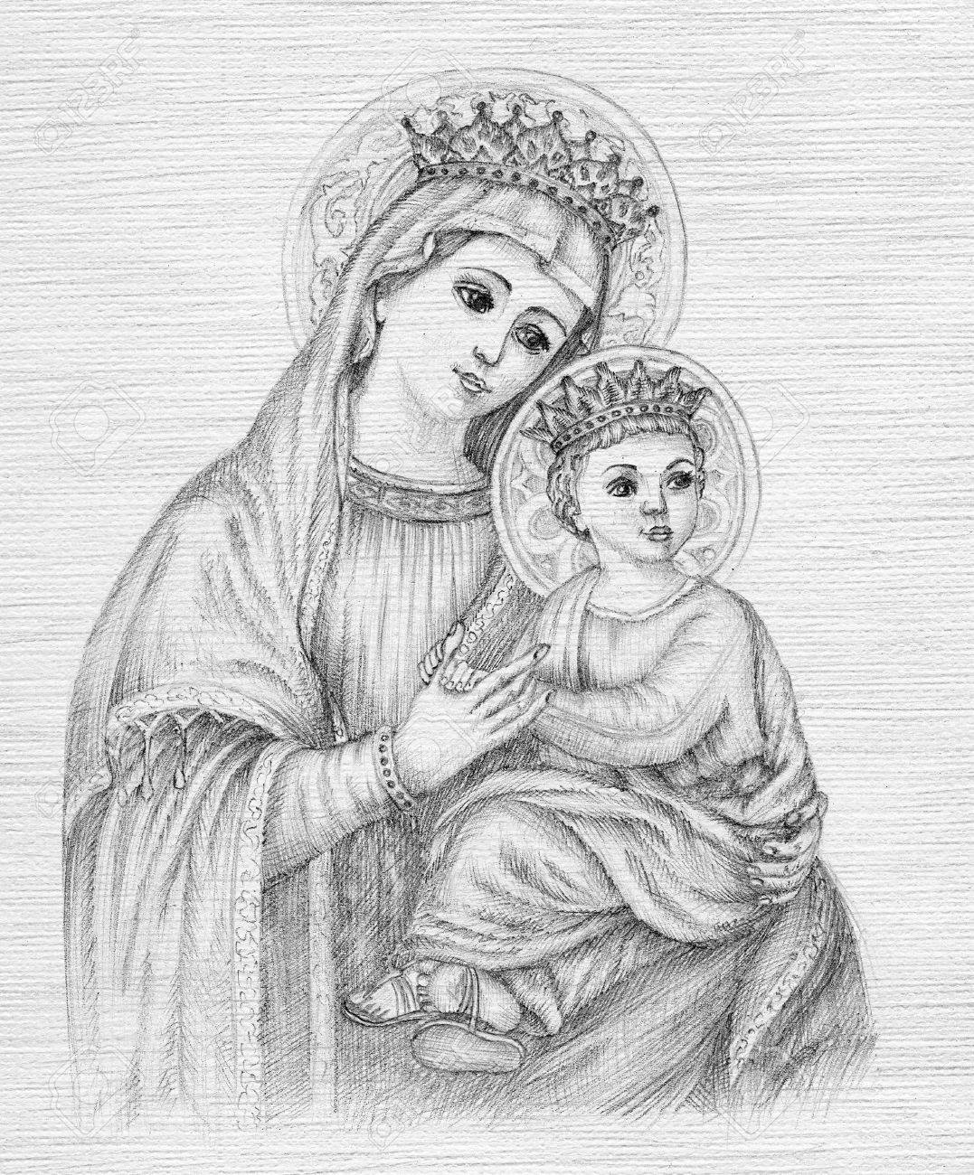 Beautiful pencil drawing illustration for easter the holy virgin mary stock illustration 79781118