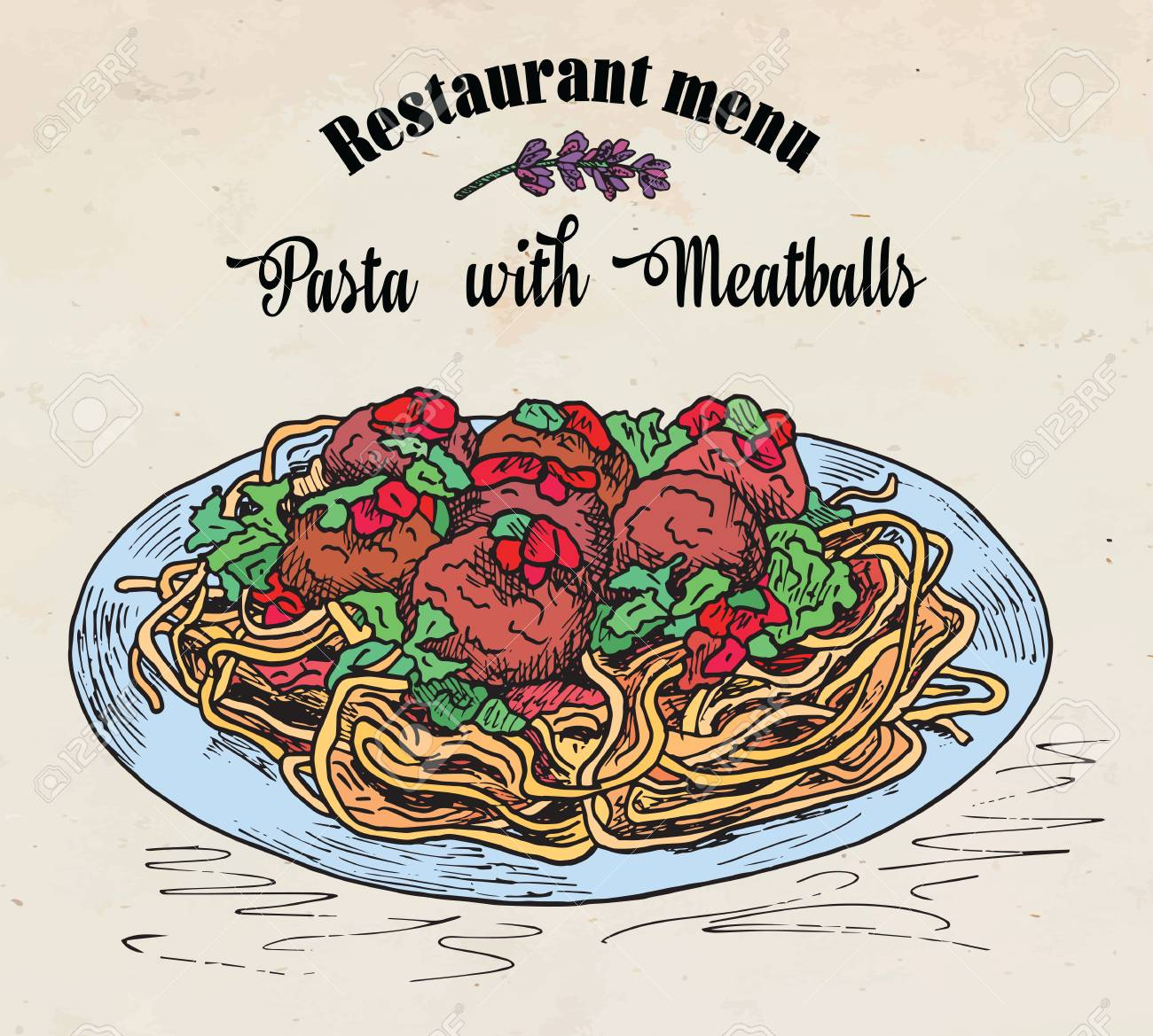 Beautiful Hand Drawing Pasta With Meatballs With Tomato Sauce