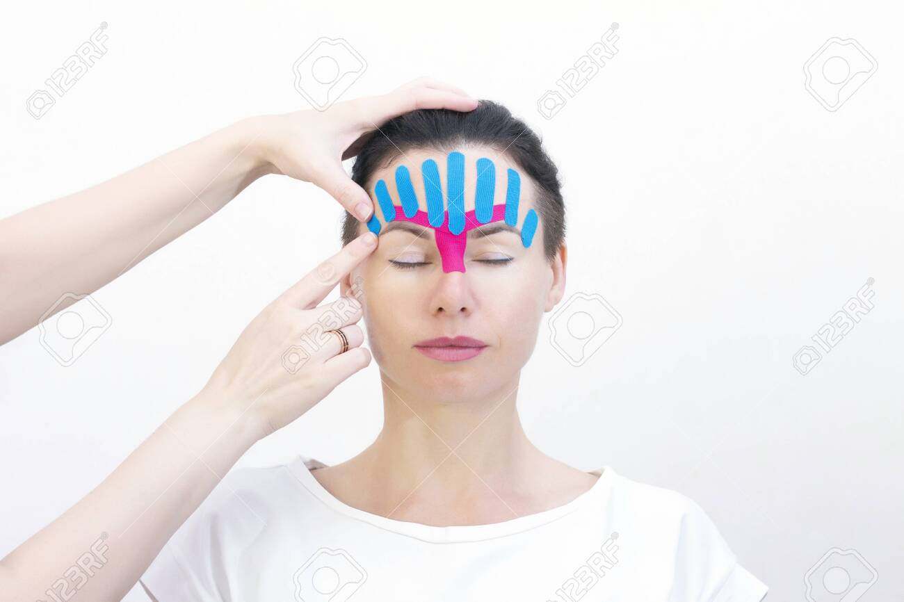 Face Taping Close Up Of A Girls Face With Cosmetological Anti Wrinkle Stock Photo Picture And Royalty Free Image Image 148782997