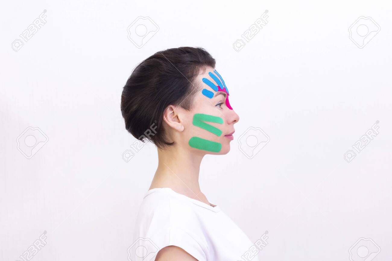 Face Taping Close Up Of A Girls Face With Cosmetological Anti Wrinkle Stock Photo Picture And Royalty Free Image Image 149096074