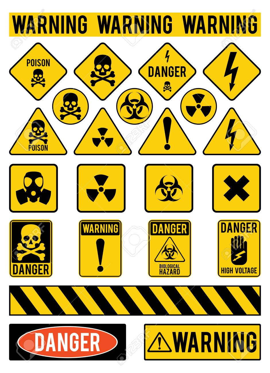 Set of warning signs about the dangers danger poisons warming set of warning signs about the dangers danger poisons warming vector illustration biocorpaavc Image collections