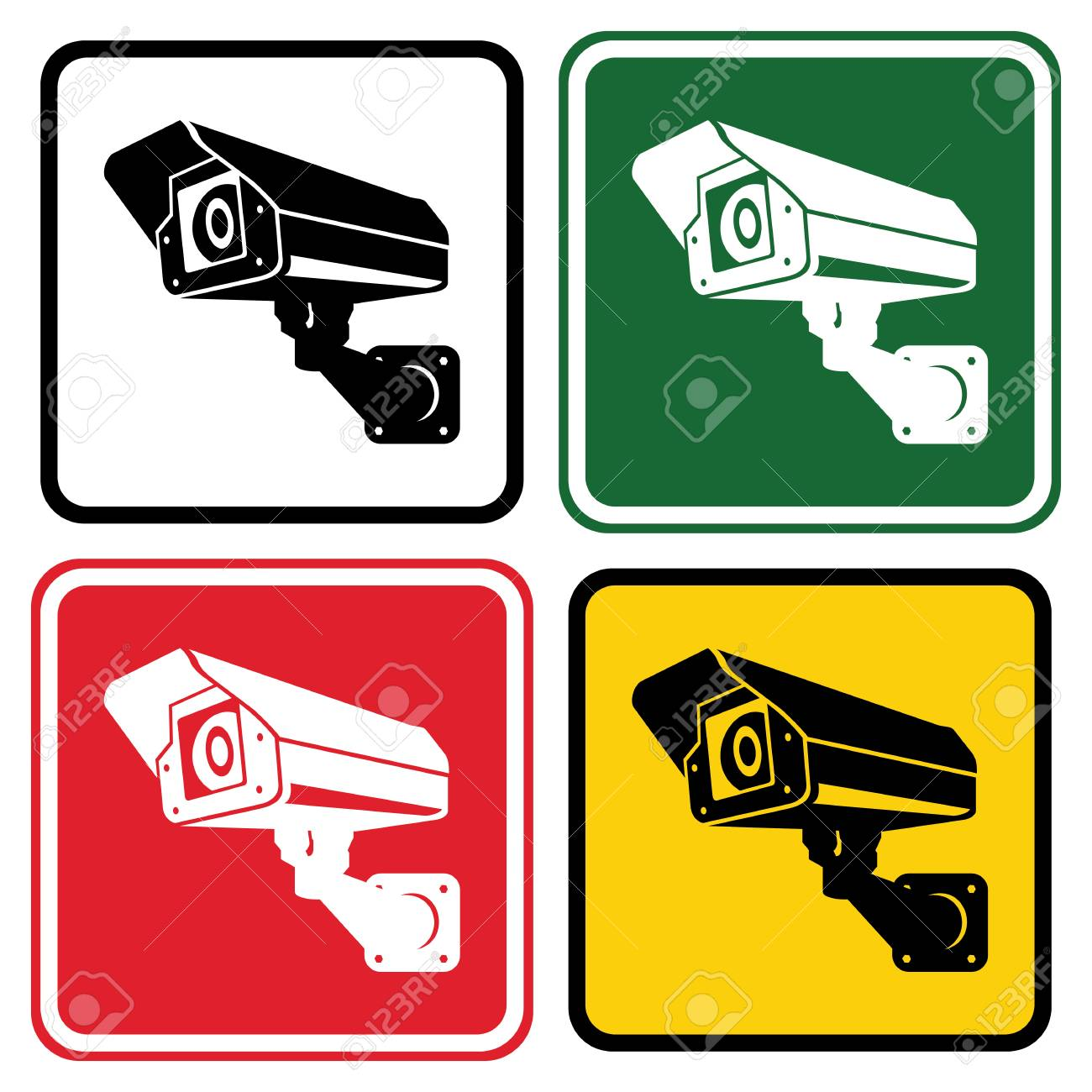 sign surveillance camera set of warning signs in different colors