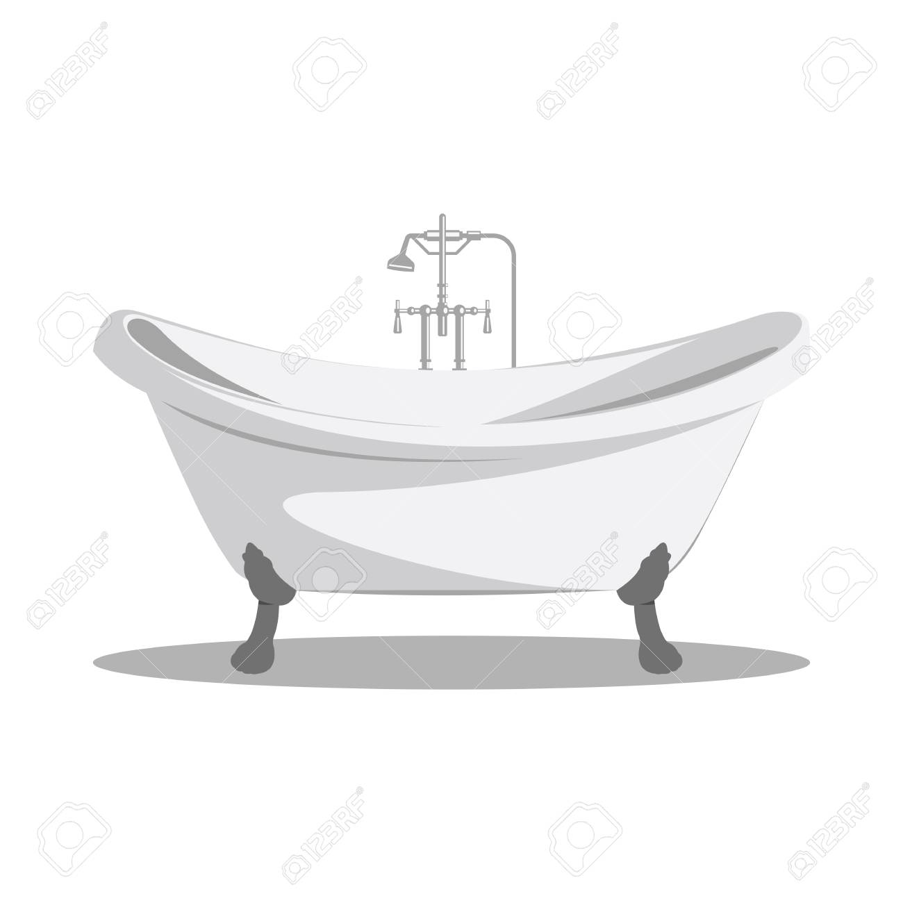 Cartoon Retro Bathtub Icon White With Arms And Legs And Shadow