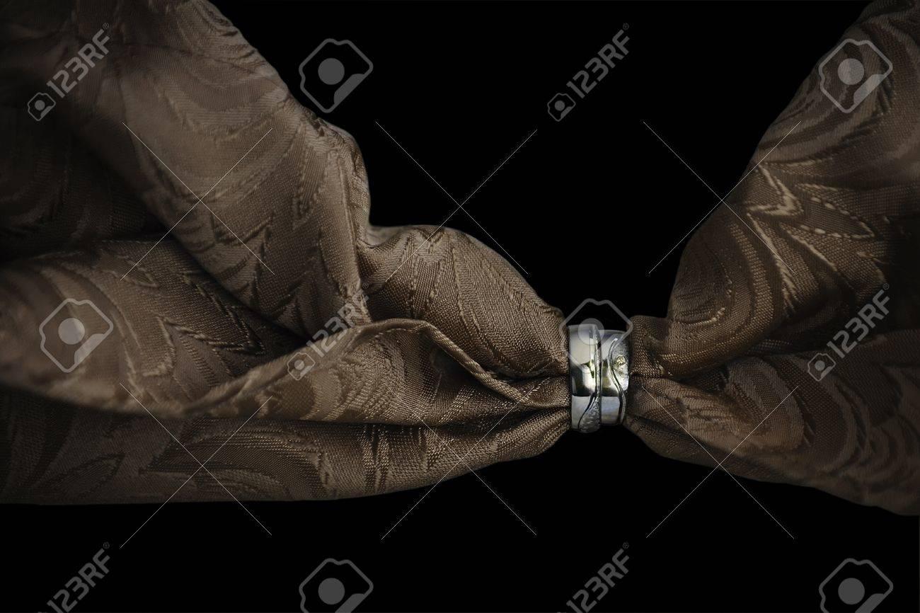 Fabric threaded through the wedding rings Stock Photo - 18920138