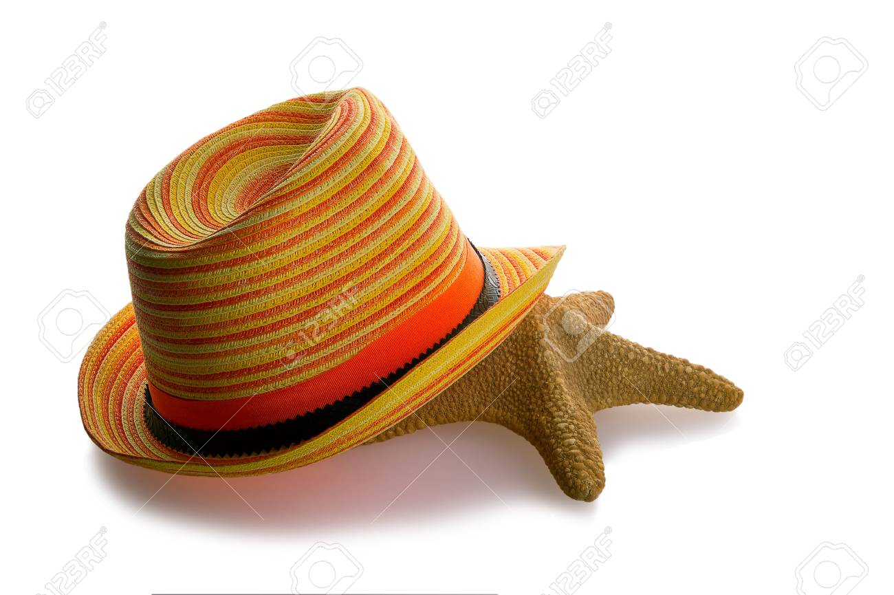 Beach hat and starfish isolated on white background Stock Photo - 21451341