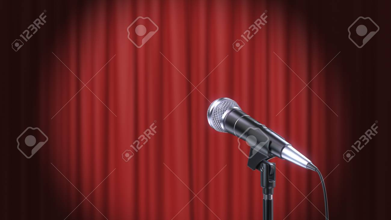 Microphone and Red Curtains Background, 3d Render - 120706569