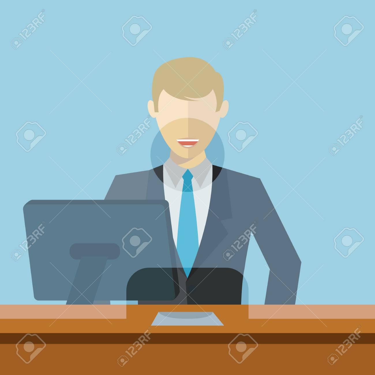 Man Working As Bank Clerk Bank Teller Workplace Vector Illustration
