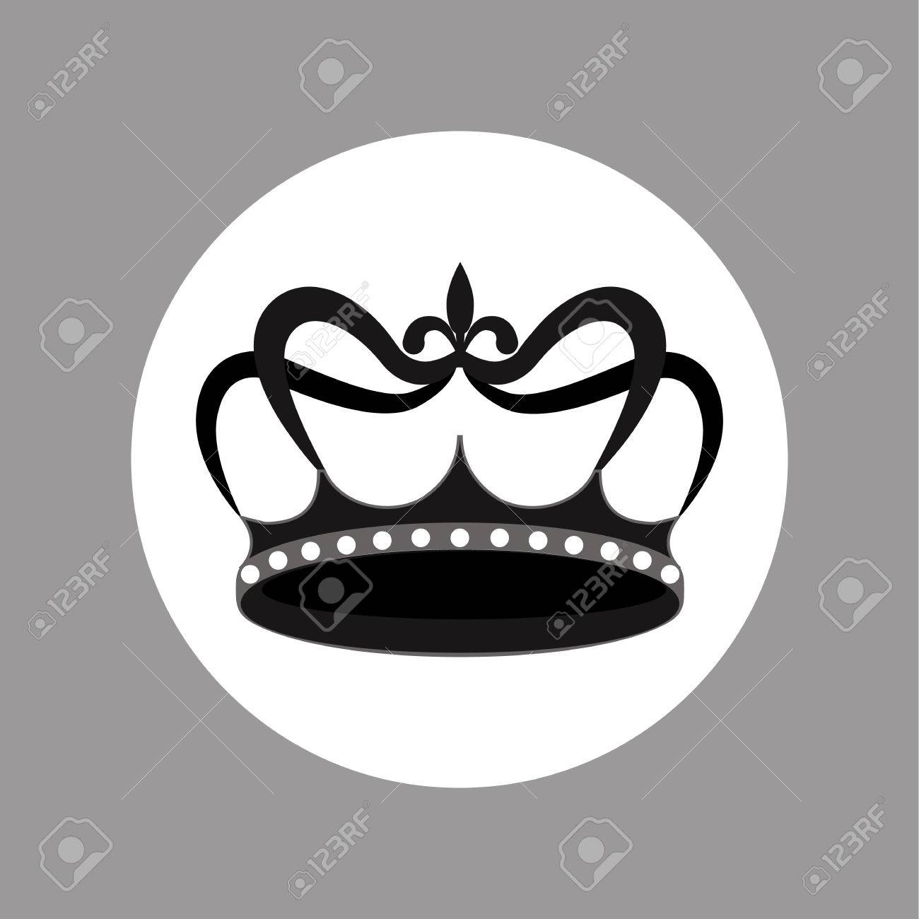 Blanco Y Negro Icono Del Diseño De La Corona Ilustraciones