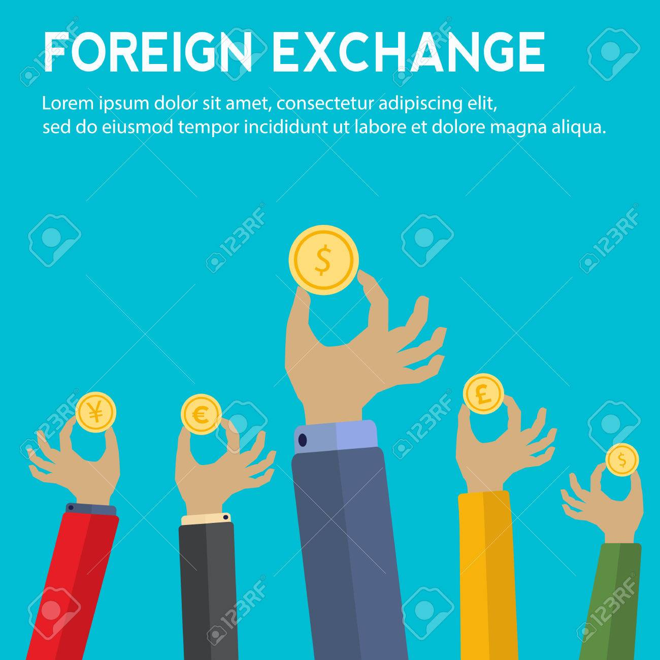 Foreign Exchange Concept With Hands Holding Coins With Symbols