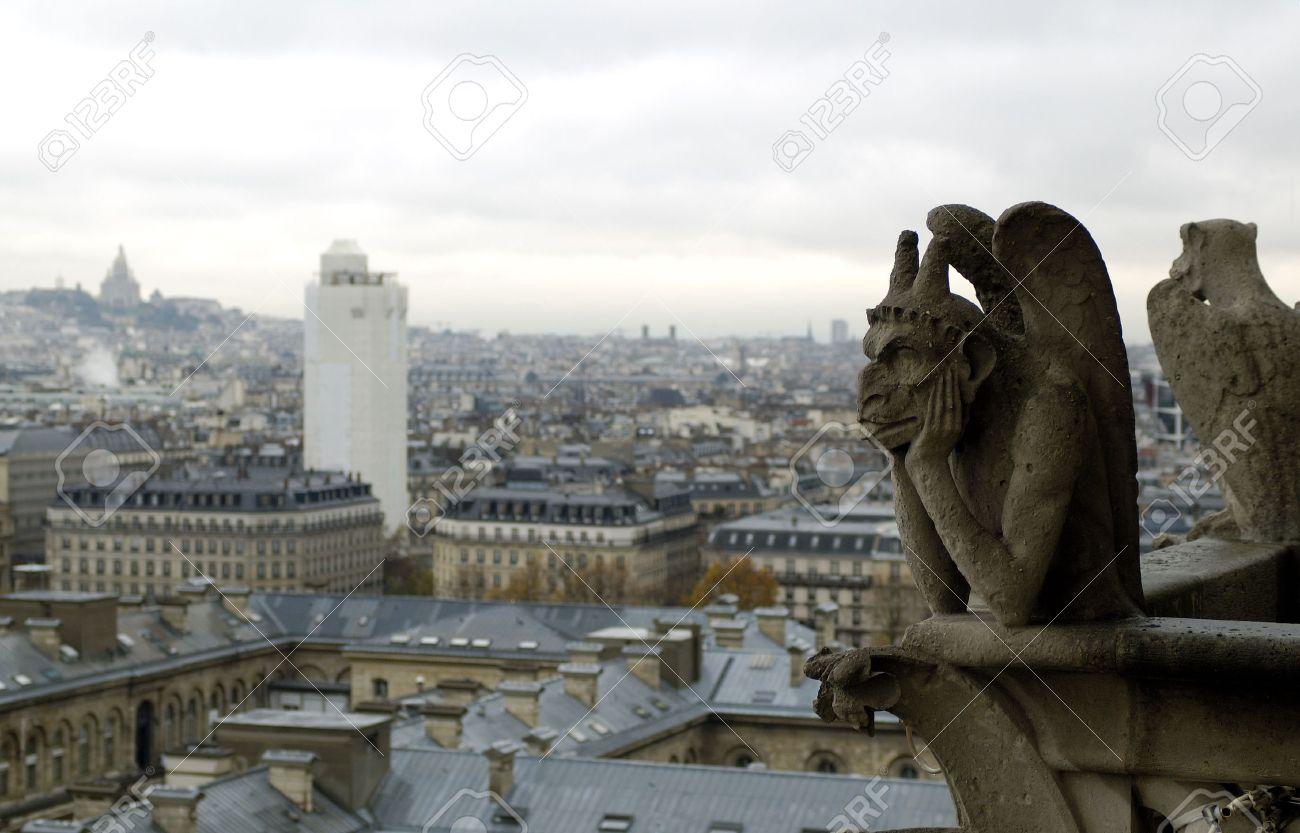 Paris`s view from the top of notre dame de paris. Gargoyle and sacre coeur Stock Photo - 2292160