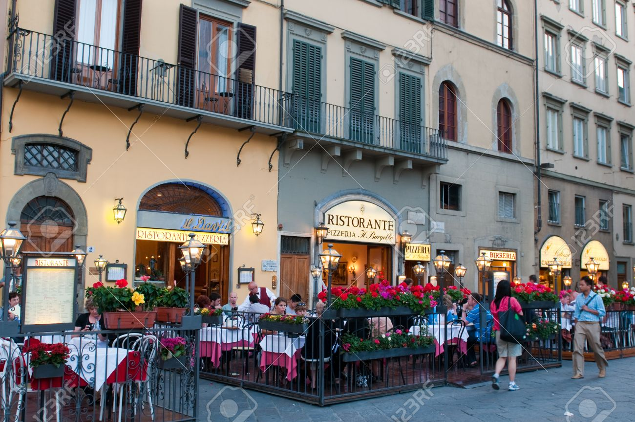 Florence Italy June 2010 Street Restaurants On Piazza Della