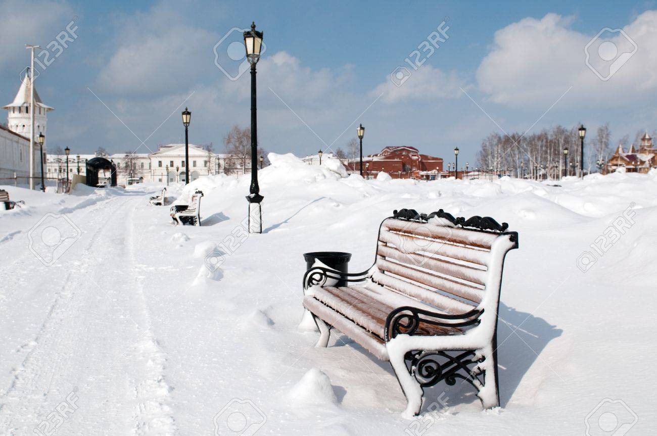 Bench in Kremlin complex in Tobolsk, a historic capital of Siberia, Russia Stock Photo - 13943538