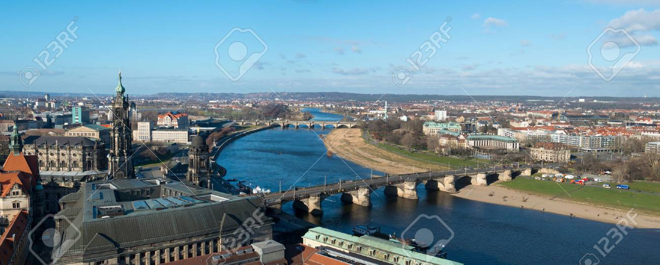 Werbefotograf Dresden panoramic view of dresden from frauenkirche church royalty free stok