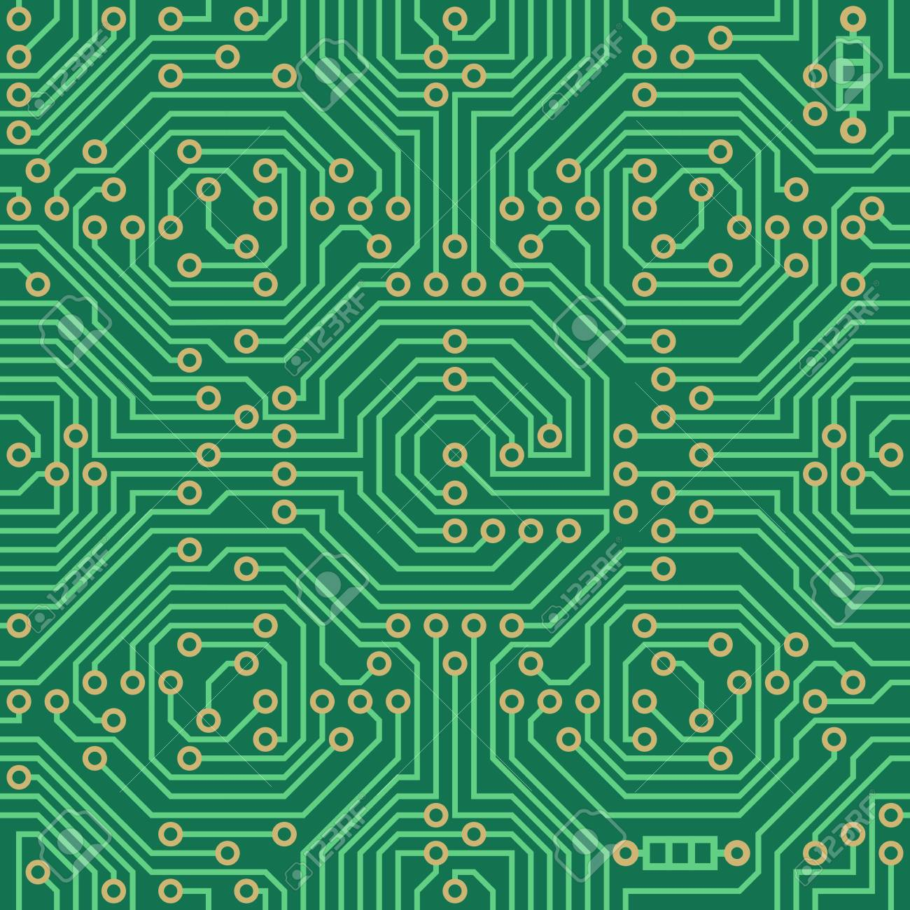Vector Seamless Pattern Electronic Circuit Board Background Design