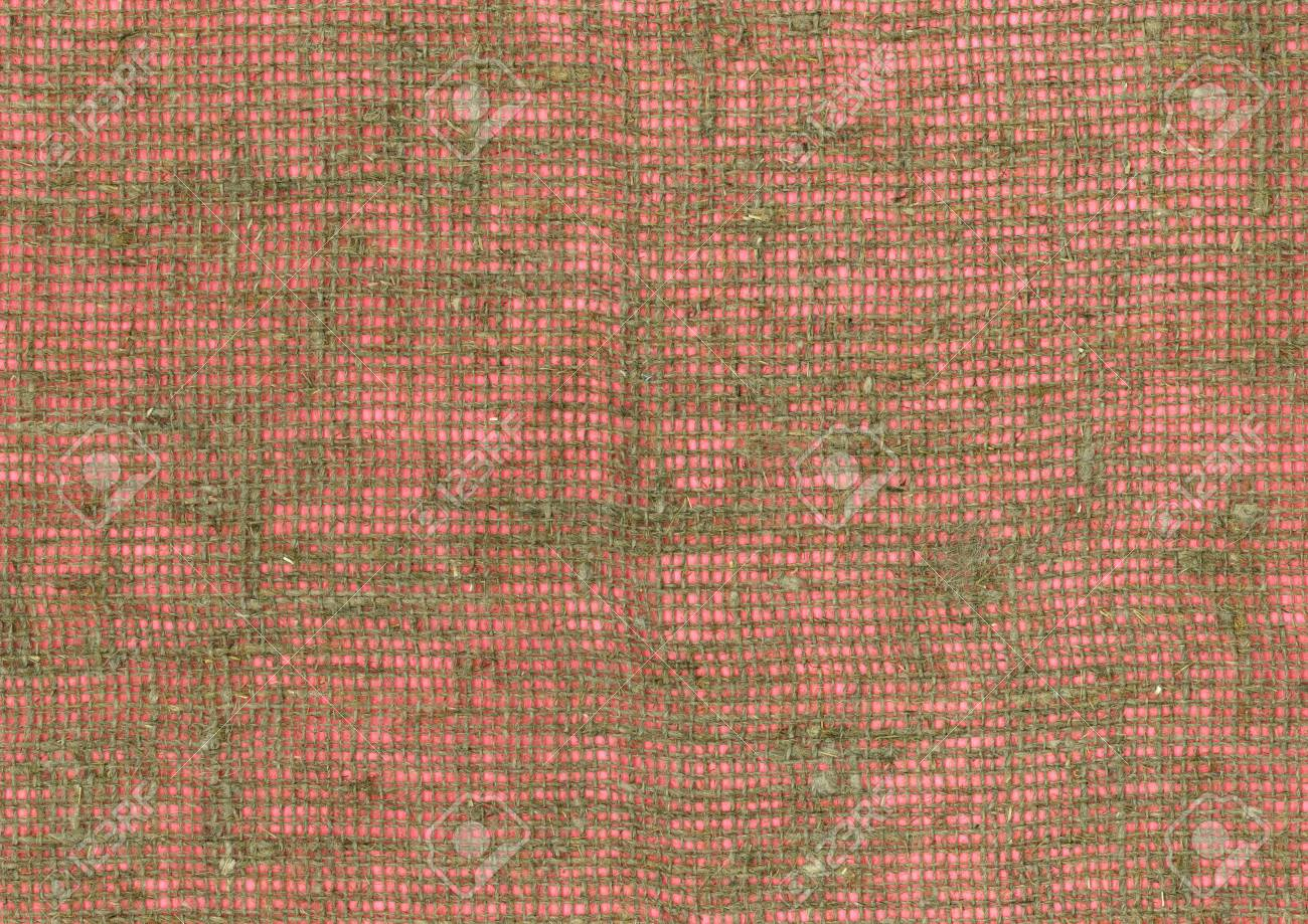 Coarse Burlap Fabric High Resolution On Pink Background Stock Photo