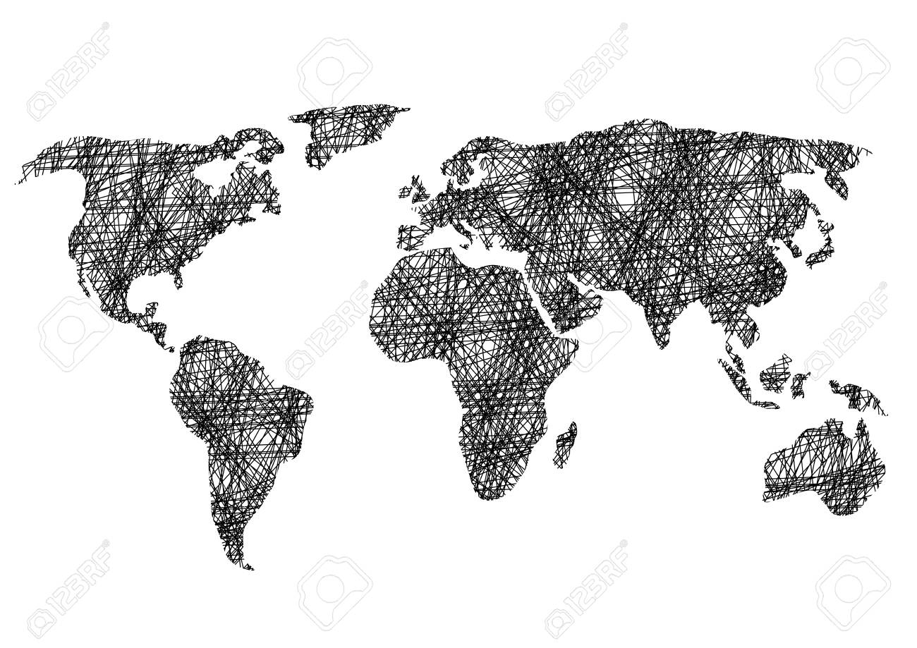 Black and white drawing sketch world map vector illustration black and white drawing sketch world map vector illustration foto de archivo 75994903 gumiabroncs Images