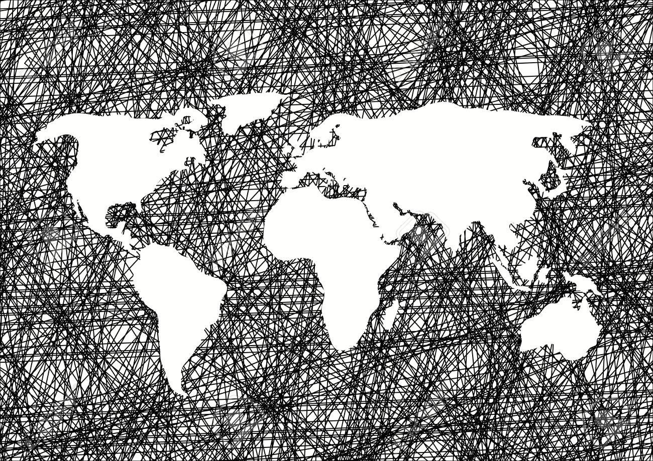 Pencil drawing sketch world map vector background stock vector 75994905