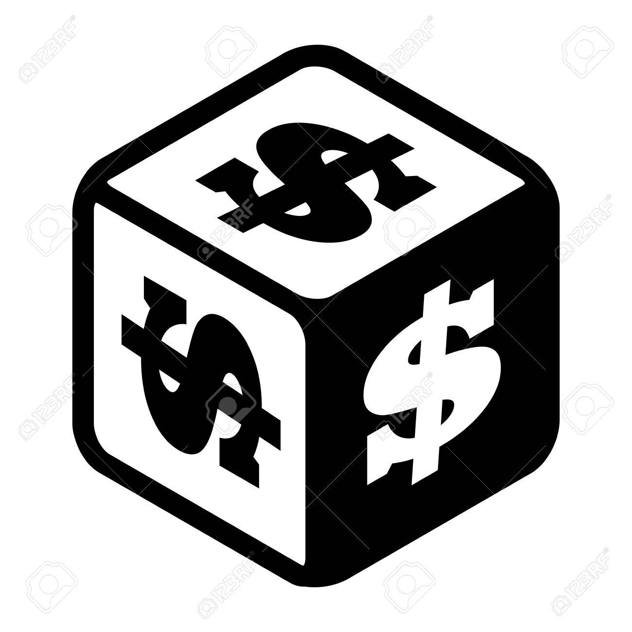 Lucky dice with dollar signs on every side  Big money symbol