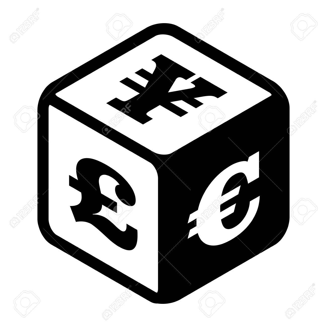 Dice With Different Currency On Each Side Stock Currency Exchange