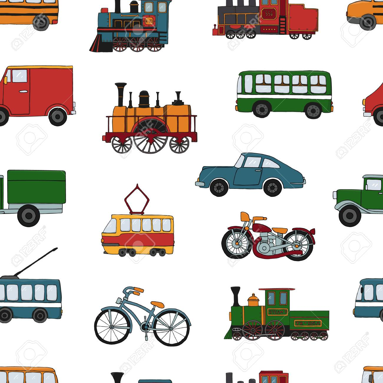 Vector colored seamless pattern of retro engines and transport. Vector repeat background of vintage trains bus, tram, trolleybus, car, bicycle, bike, van, truck isolated on white background. Cartoon style endless illustration of old means of transport for children - 126718485