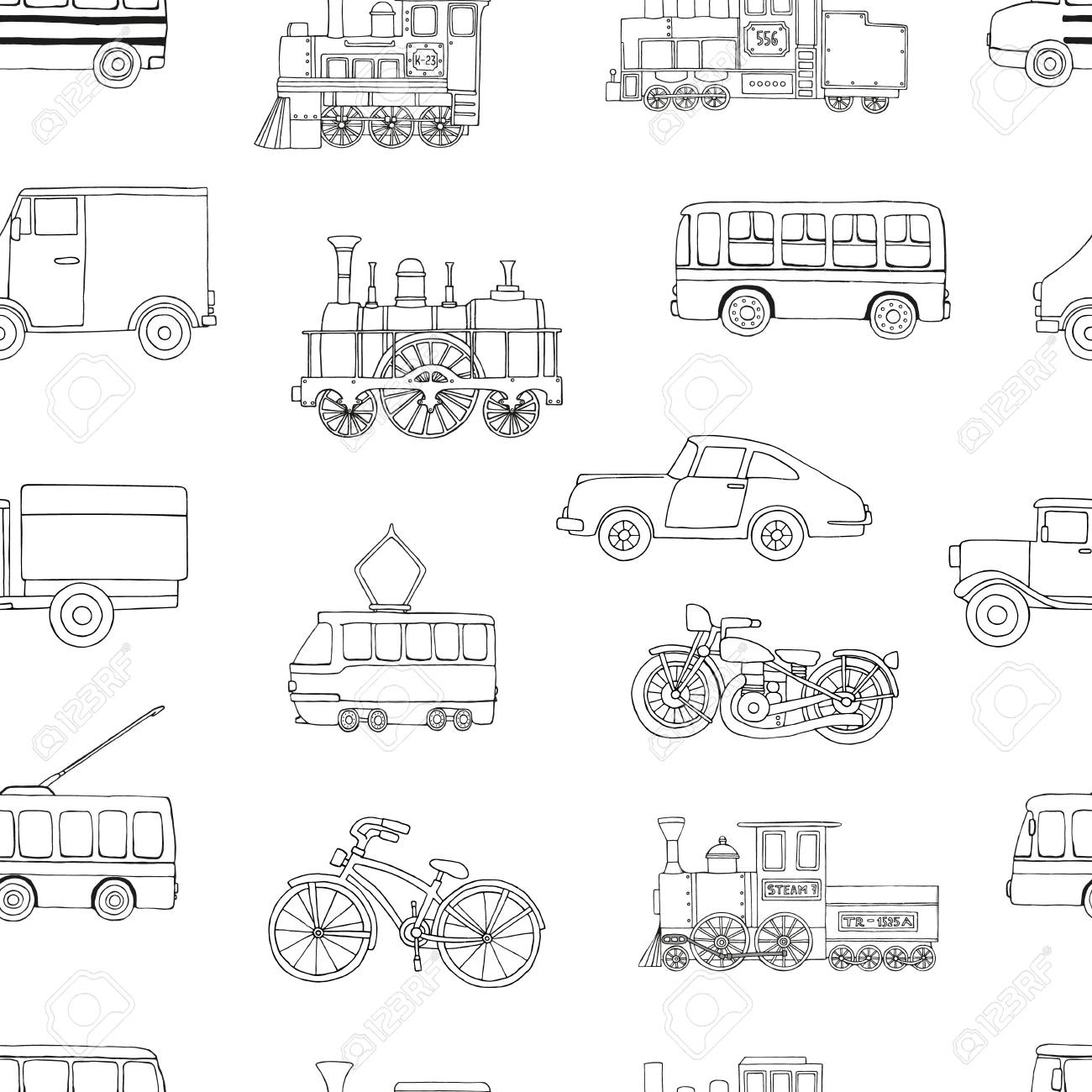 Vector black and white seamless pattern of retro engines and transport. Vector repeat background of vintage trains bus, tram, trolleybus, car, bicycle, bike, van, truck isolated on white background. Cartoon style endless illustration of old means of transport for children - 126718486