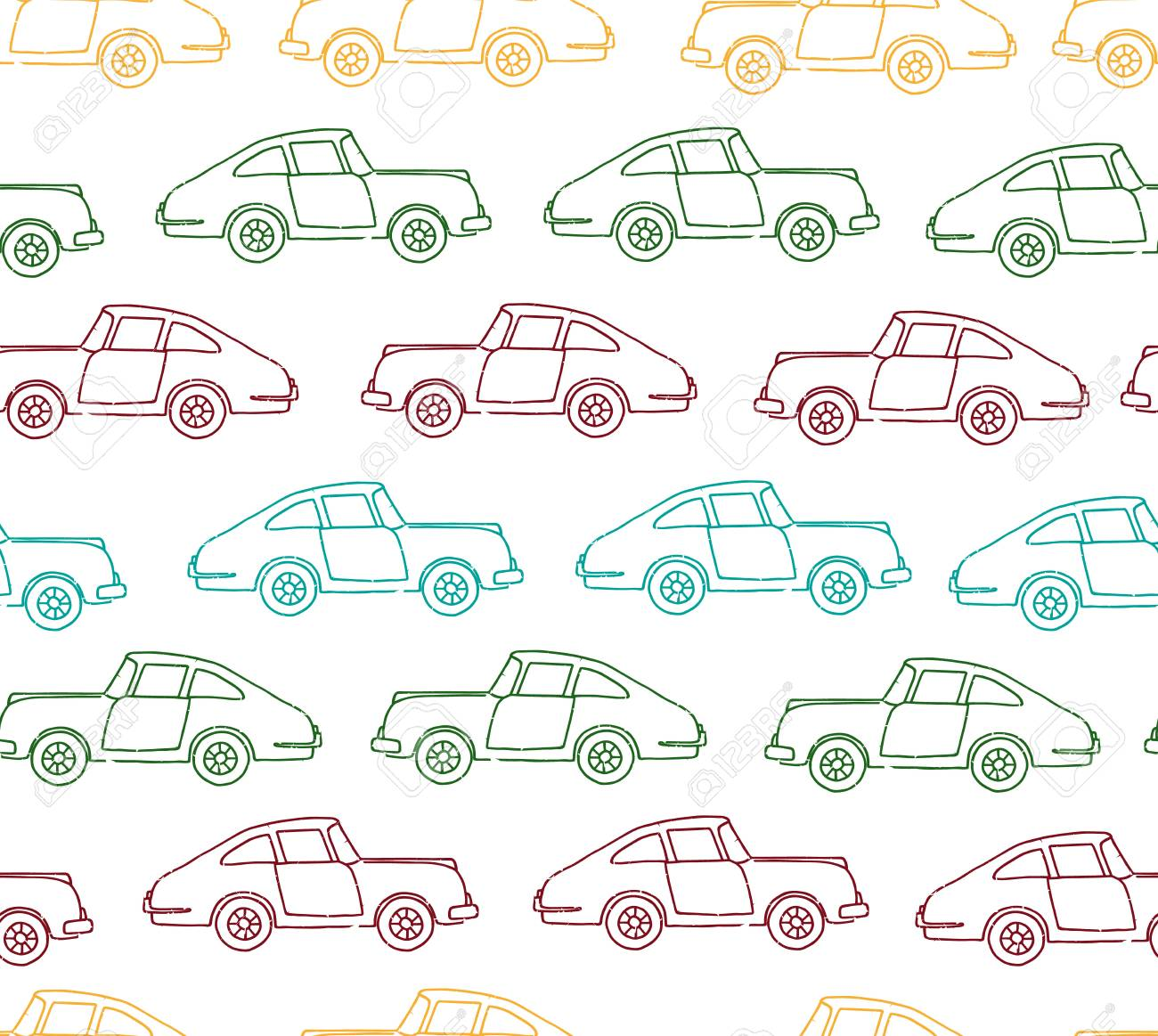 Vector seamless pattern of textured retro cars. Vector repeat background of vintage colored transport isolated on white background. Cartoon style endless illustration of old means of transport for children - 126718494