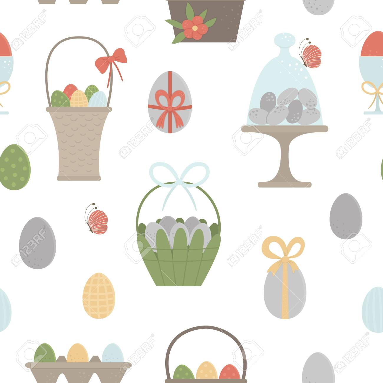 Vector seamless pattern with colored eggs, baskets, packaging with bows, butterfly and flowers. Easter background with traditional symbols. Spring digital paper. - 137355101