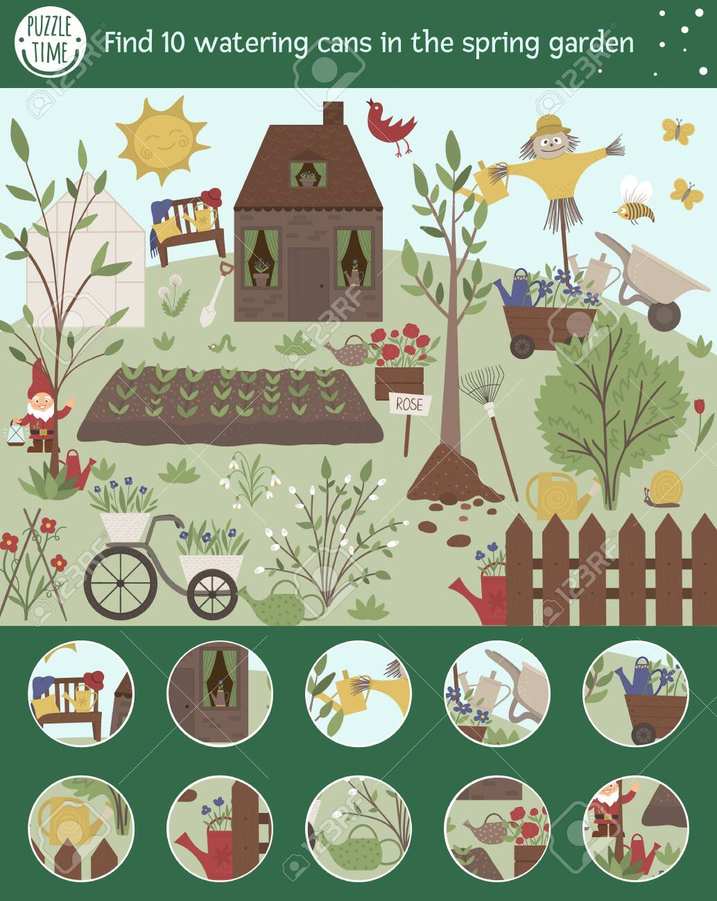 Vector Searching Game For Children With Watering Cans In Spring Royalty Free Cliparts Vectors And Stock Illustration Image 140865374