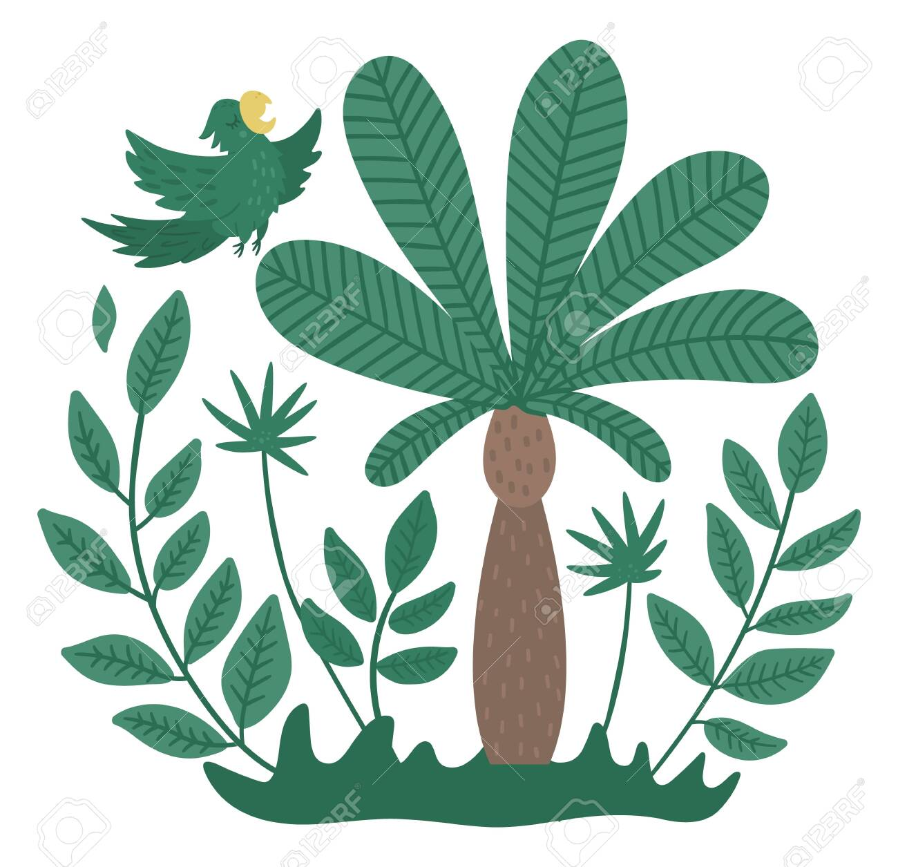 Vector Cute Tropical Forest Composition With Flying Parrot Palm Royalty Free Cliparts Vectors And Stock Illustration Image 144753275 Free for commercial use no attribution required high quality images. 123rf com