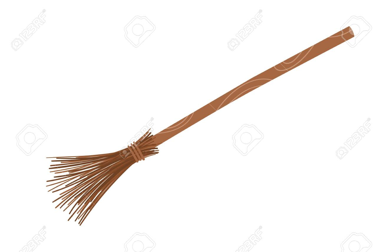 Cute vector broomstick. Halloween object icon. Autumn all saints eve illustration with witch related element. Samhain broom stick picture for kids. - 153634957