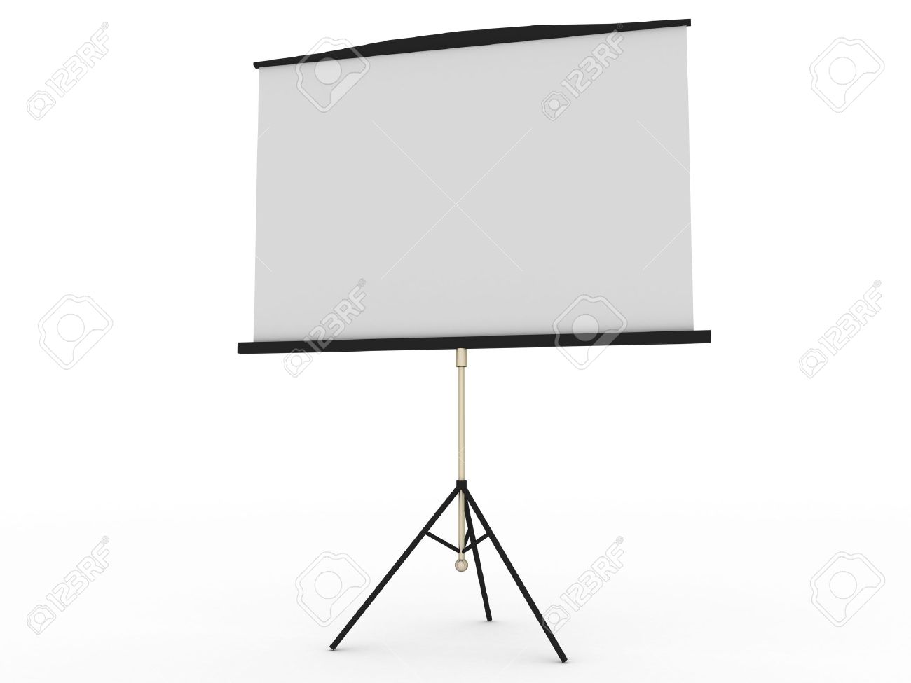 blank portable projector screen isolated on white stock photo