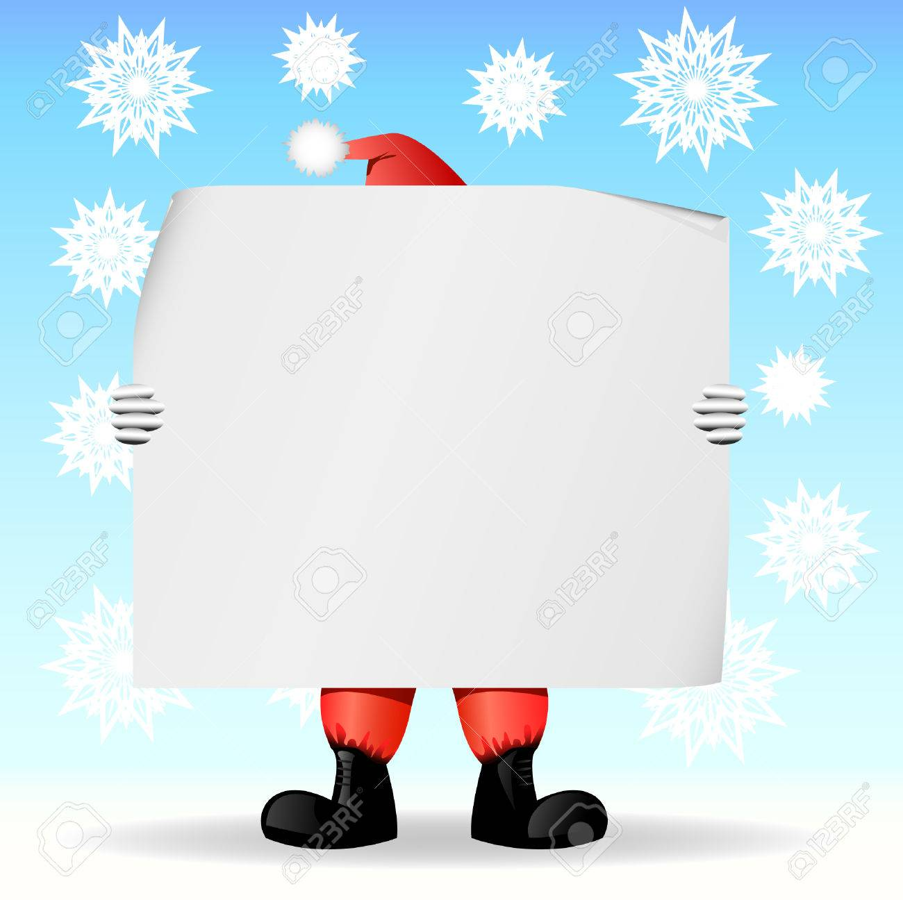 Santa Claus holding a large sheet of paper on which you can write a text Stock Vector - 6131041