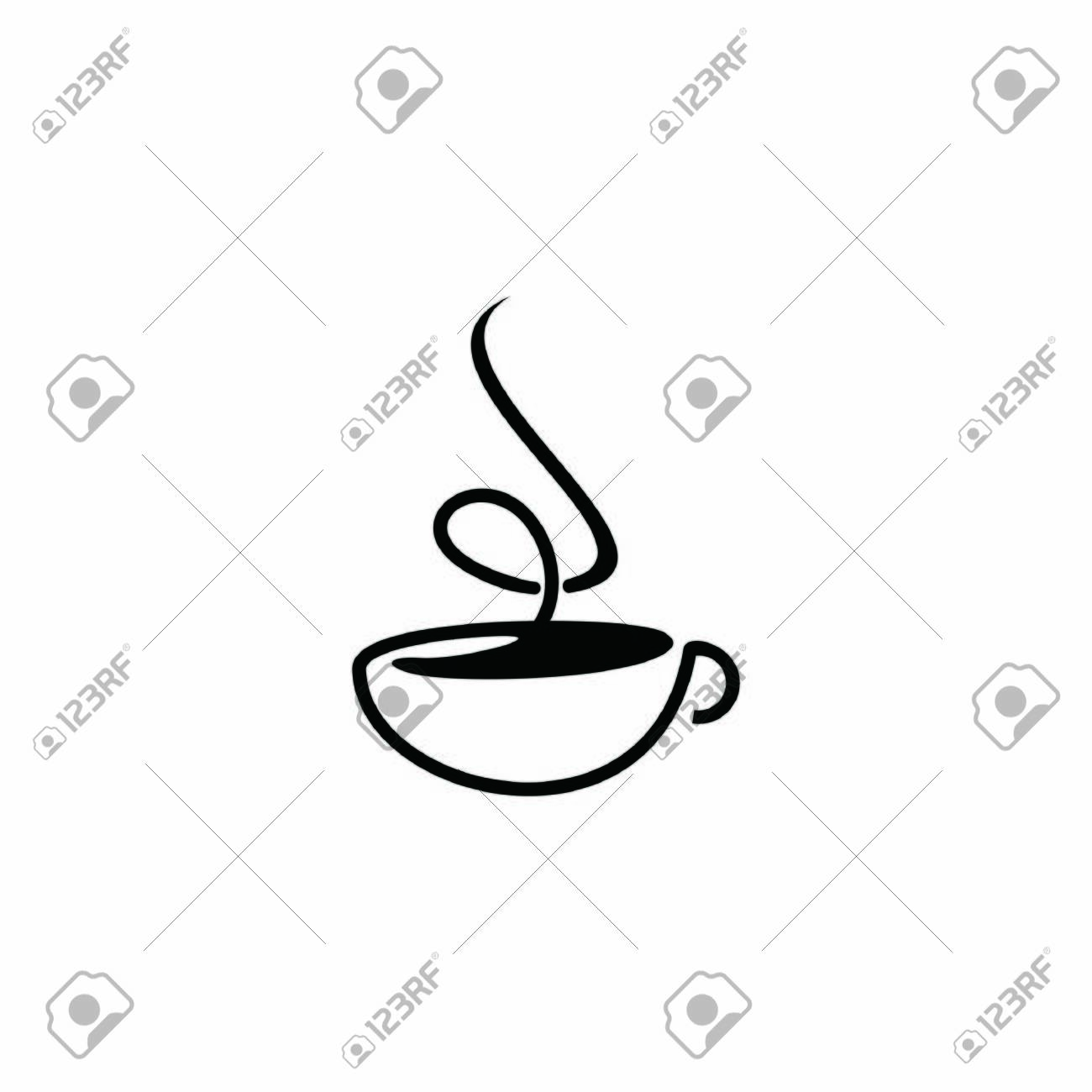 simple coffee cup logo flat black color illustration, icon and design template - 147560280