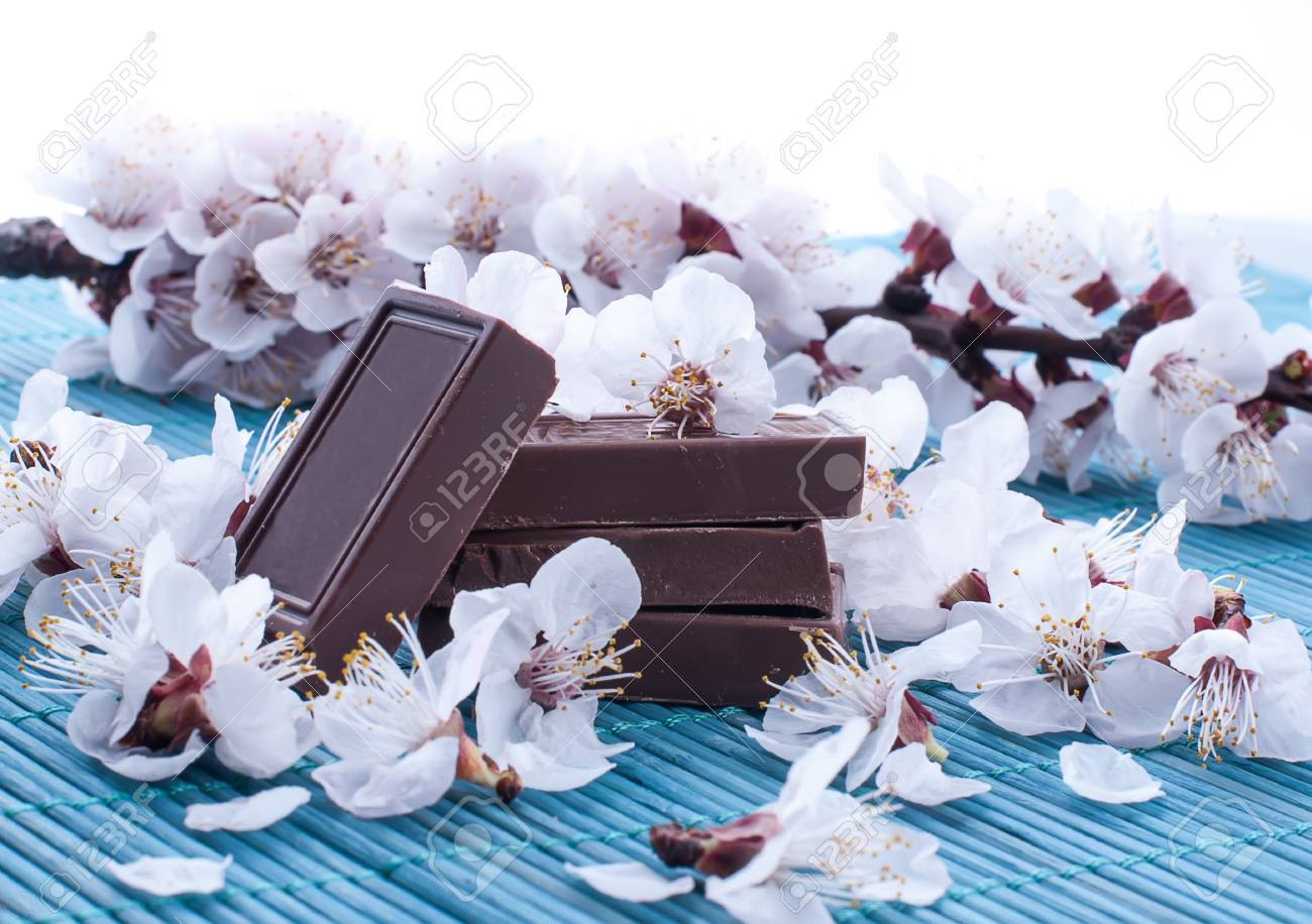 square pieces of milk chocolate covered with buds of white flowers Stock Photo - 19490129