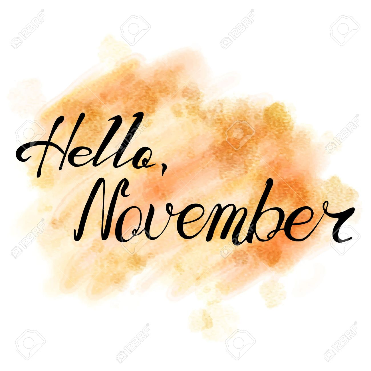 hello november hand drawn lettering on watercolor background
