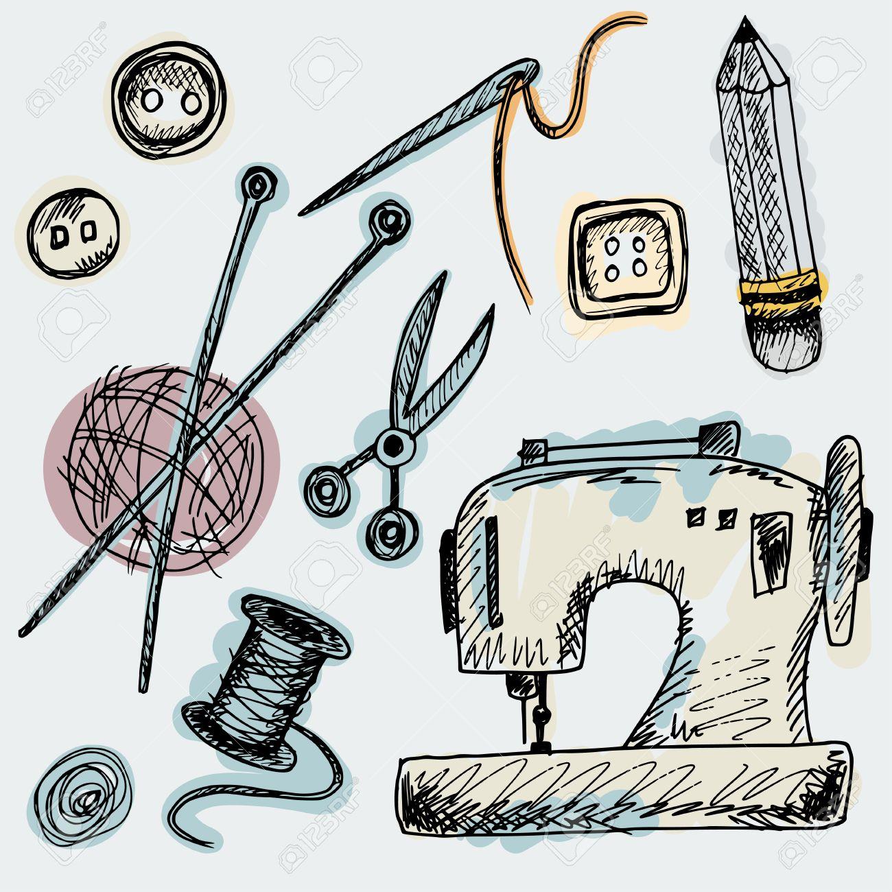 Conjunto De Suministros Aislados Lindos En El Estilo De Dibujo. Las ...
