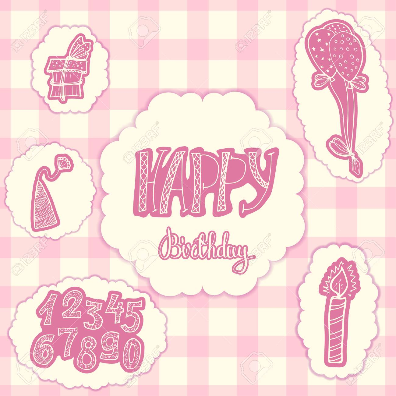Happy Birthday Doodle Set Of Decorations For Gift Card Pink Kit Girls