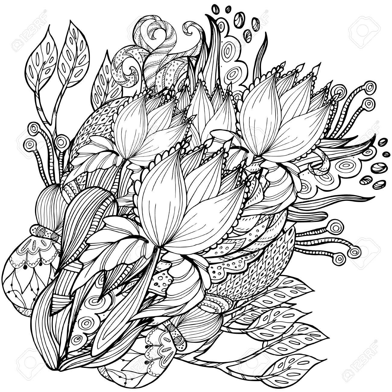 Vector Pattern For Coloring Book. Ethnic Retro Design With Floral ...