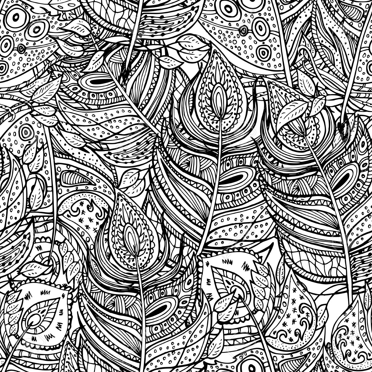Ethnic Retro Design With Feathers In Zentangle Style Abstract Ornament For Textile Fashion Fabric Wallpaper Wrapping Paper Etc