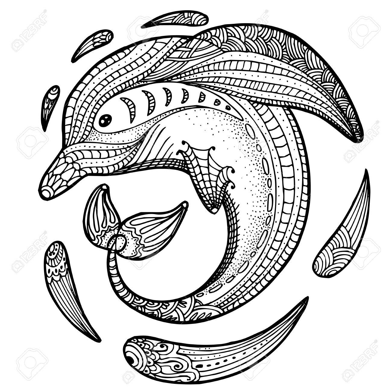 Zentangle Imagen Estilizada De Totem Animal Delfines Pagina Adulto