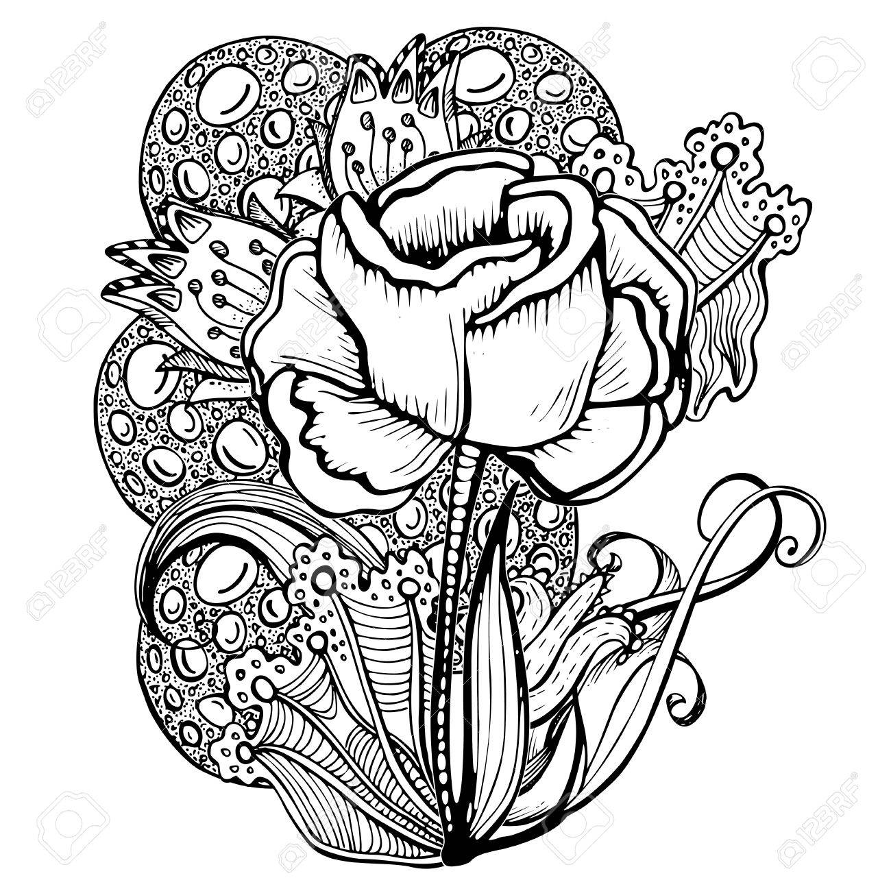 Encantador Rosa Para Colorear Elaboración - Enmarcado Para Colorear ...